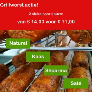 Grillworst aambieding 2 stuks van 14 voor 11 euro